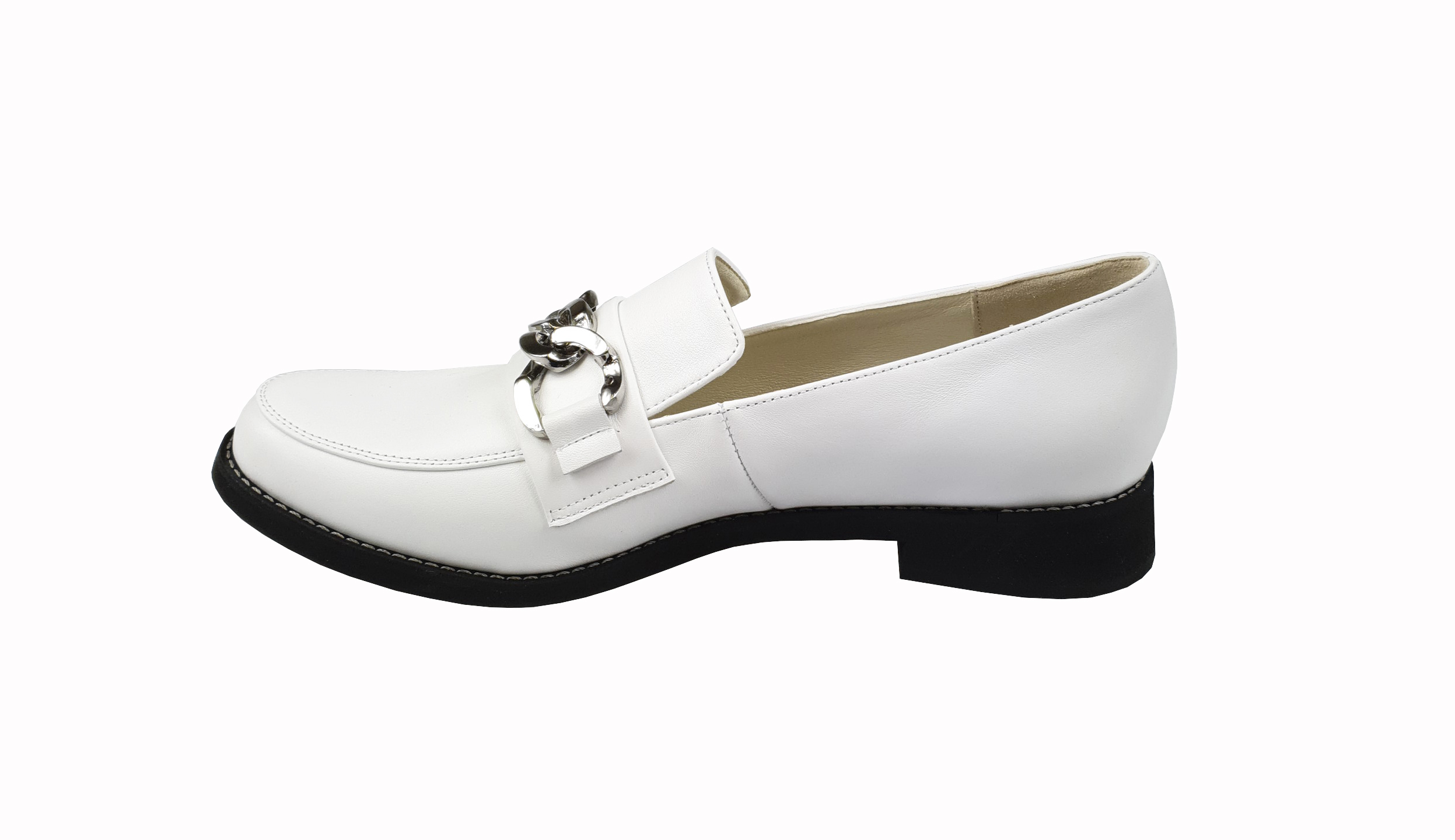 Amalia leather loafer in white