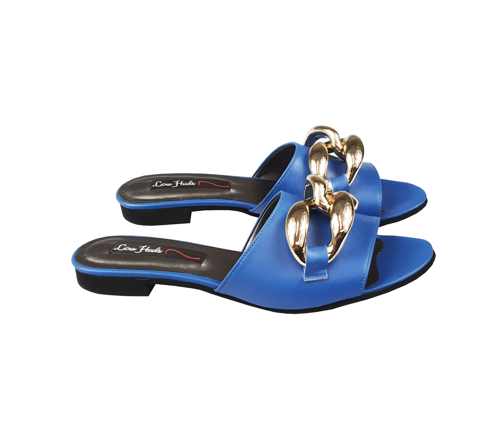 Ariana slider with oversized chain links - blue