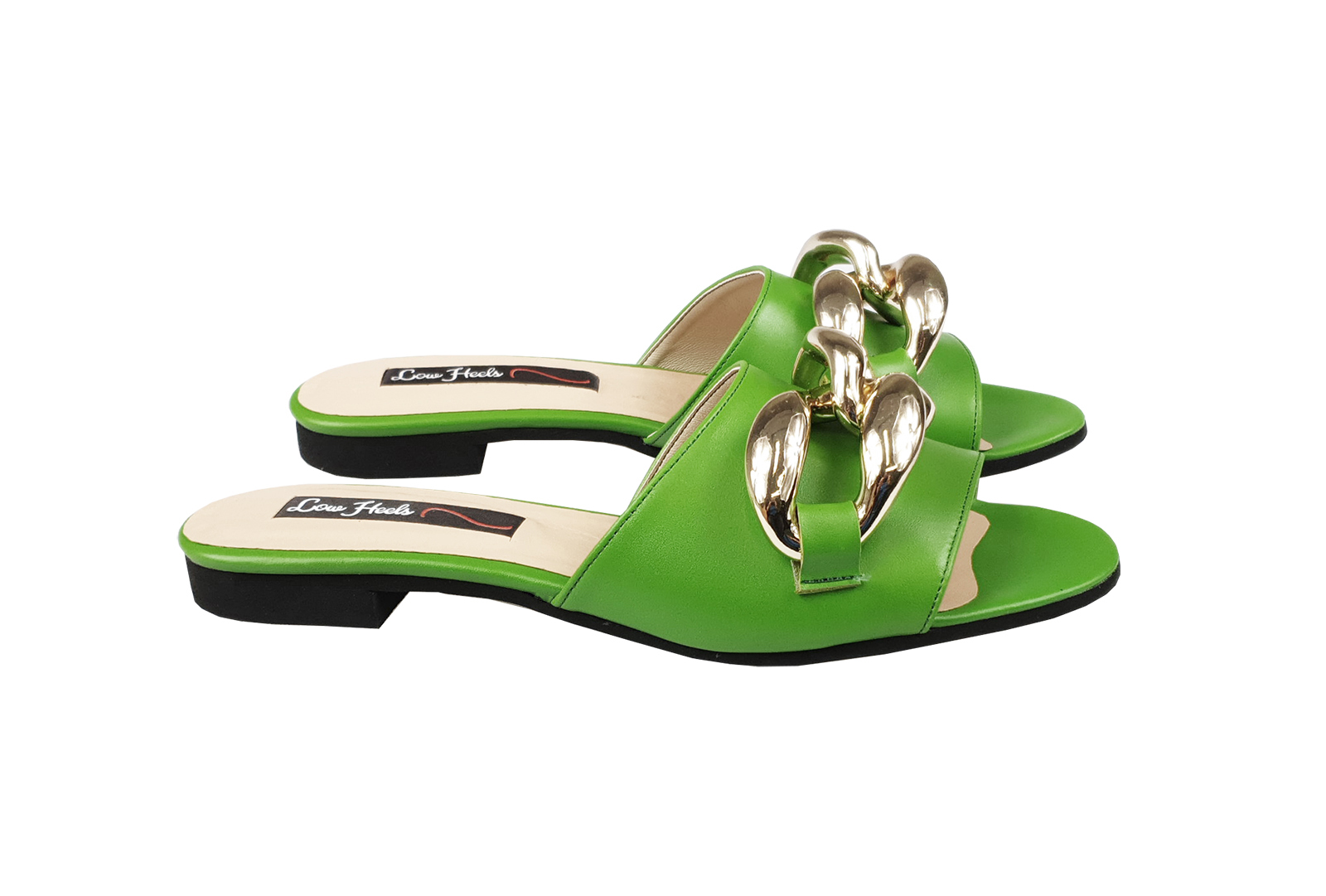 Ariana slider with oversized chain links - lime green