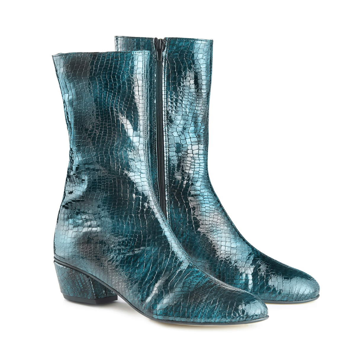 Belle Ankle Boots - Teal Croc