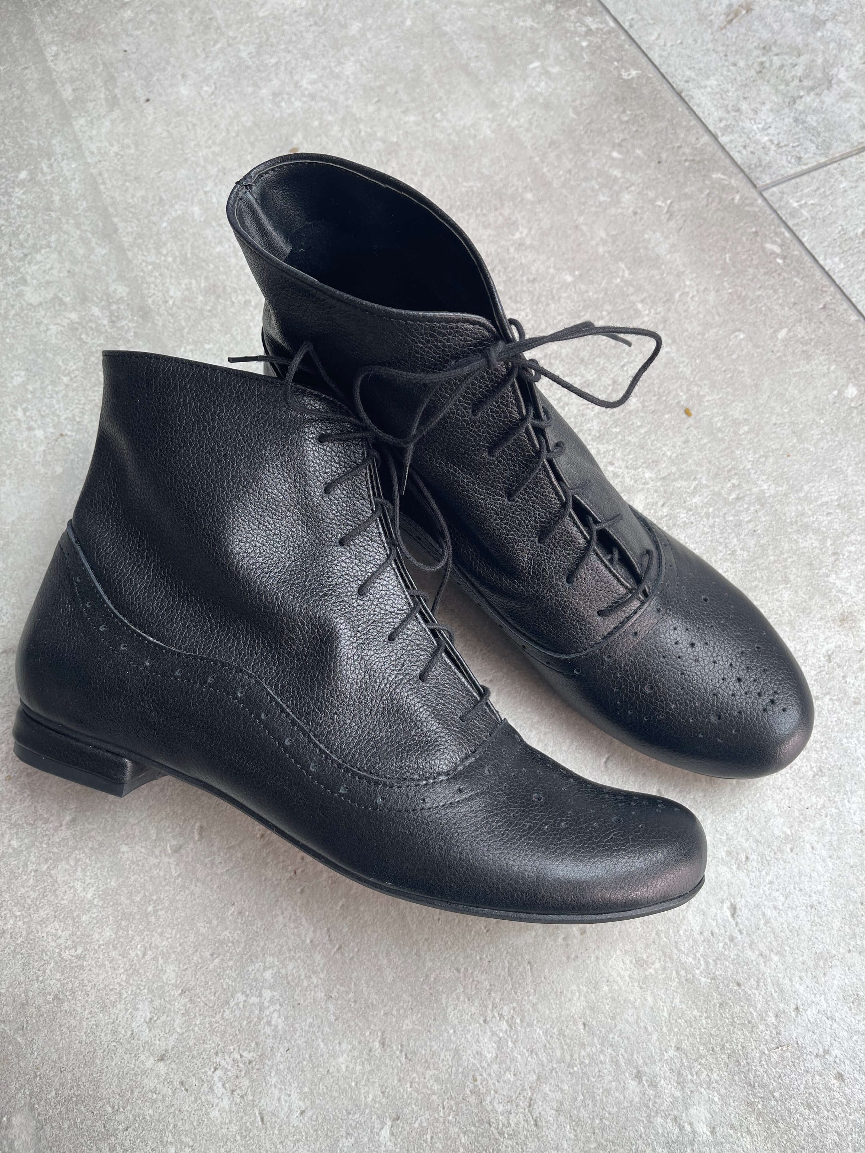 Cammy black grain leather lace-up ankle boots