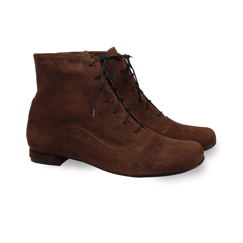 Cammy brown suede brogue-detailed lace-up ankle boots
