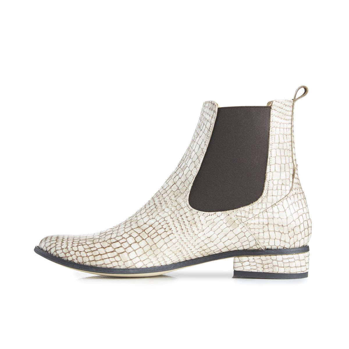 Casey Ankle Boots In Moc Croc - Beige