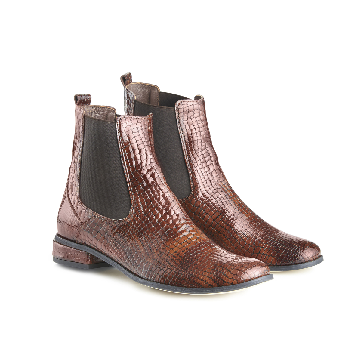 Casey Ankle Boots In Moc Croc - Brown