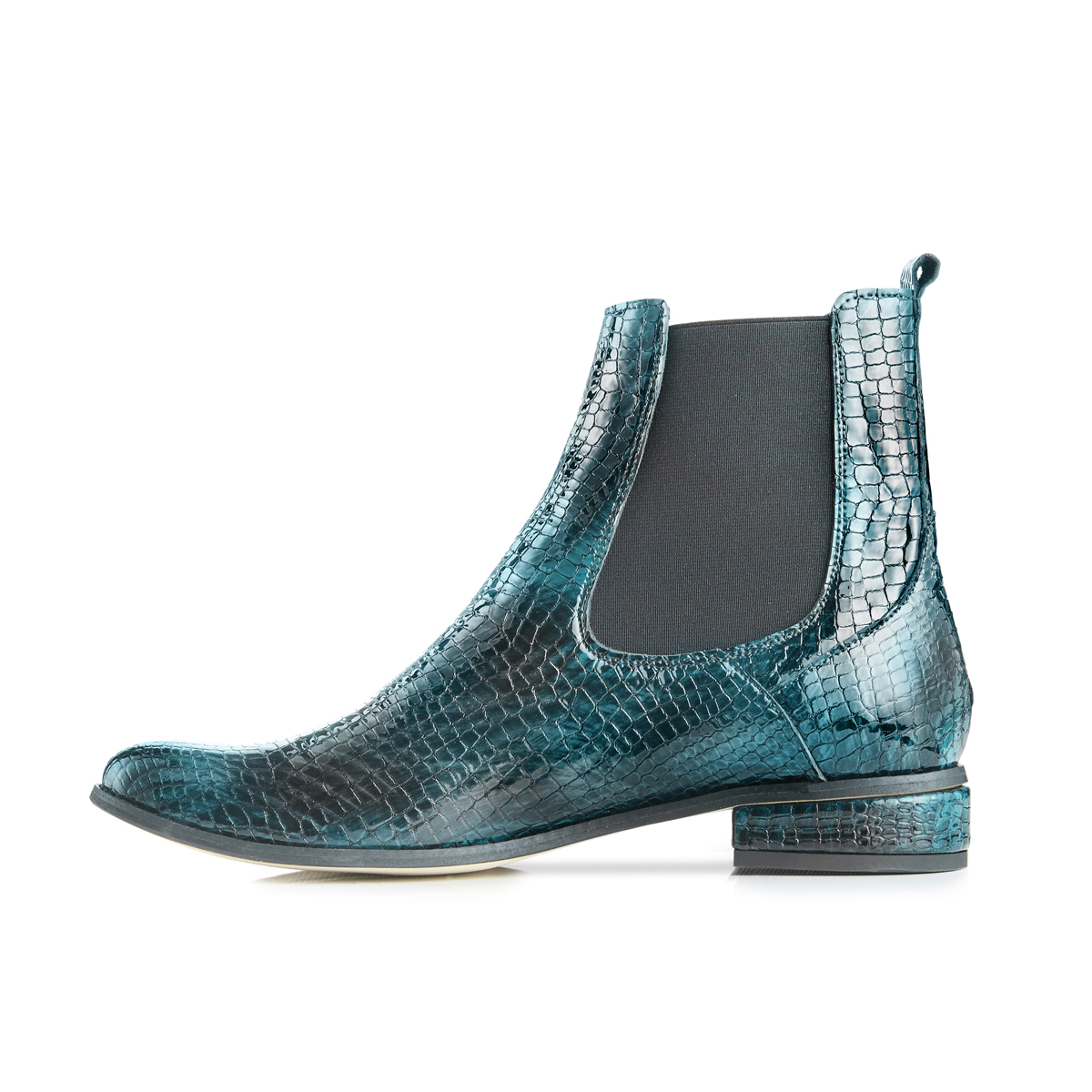 Casey Ankle Boots in Moc Croc - Teal
