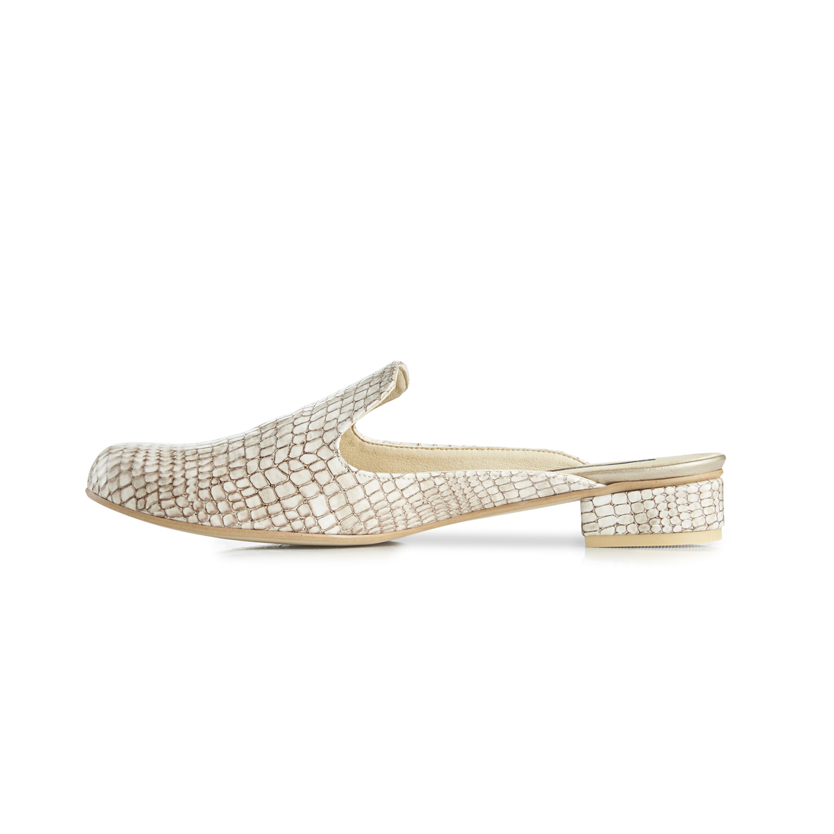 Charlie croc leather flat slip-on mules - beige