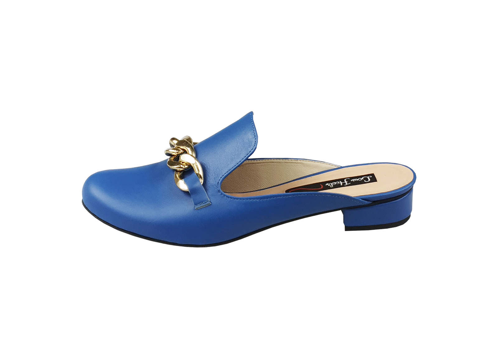 Charlie mules with chunky chain - blue