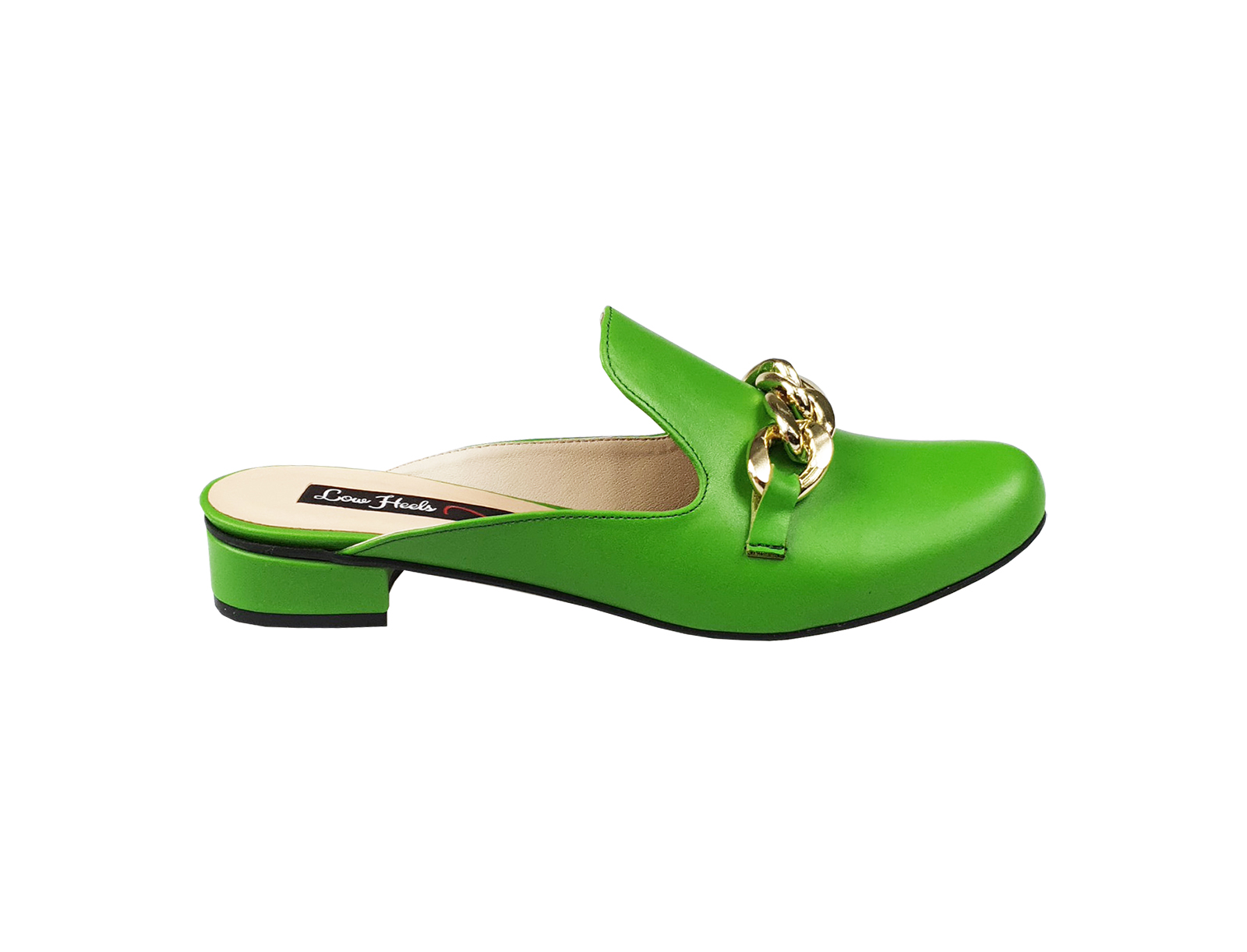 Charlie mules with chunky chain - lime green