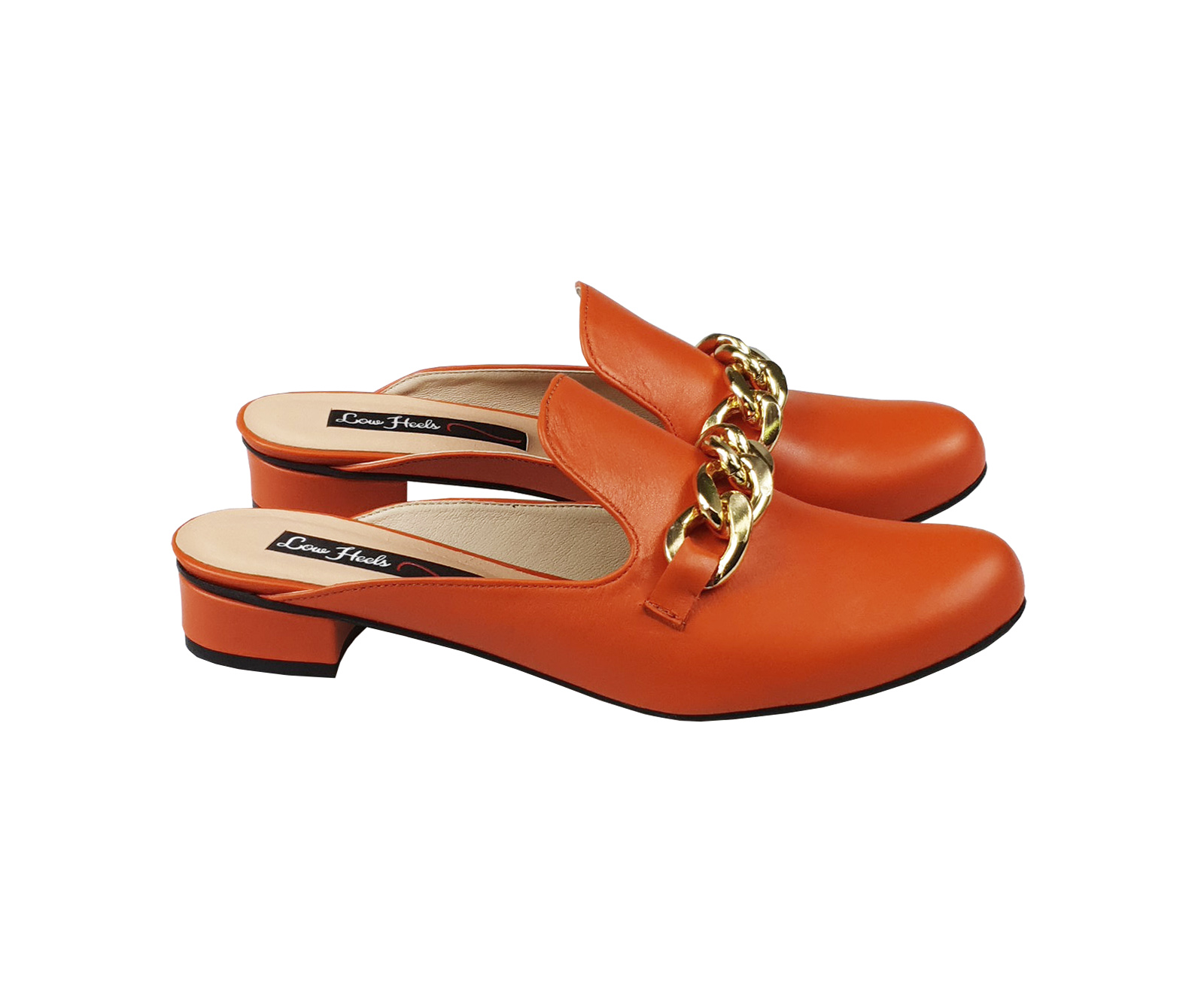 Charlie mules with chunky chain - orange