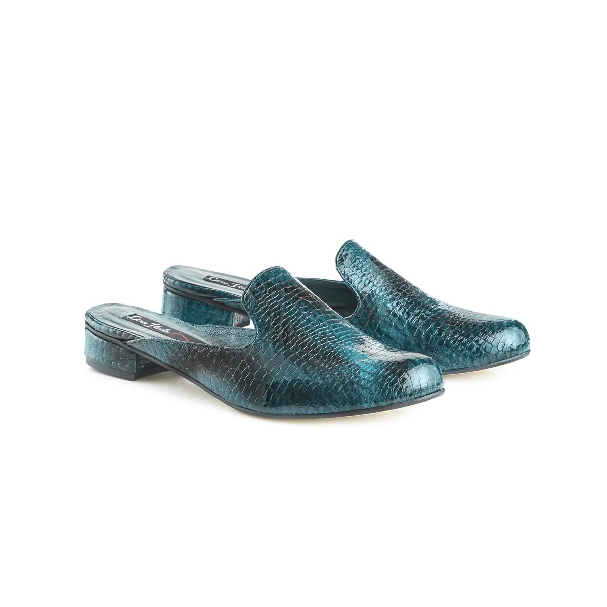 Charlie croc leather flat slip-on mules - teal