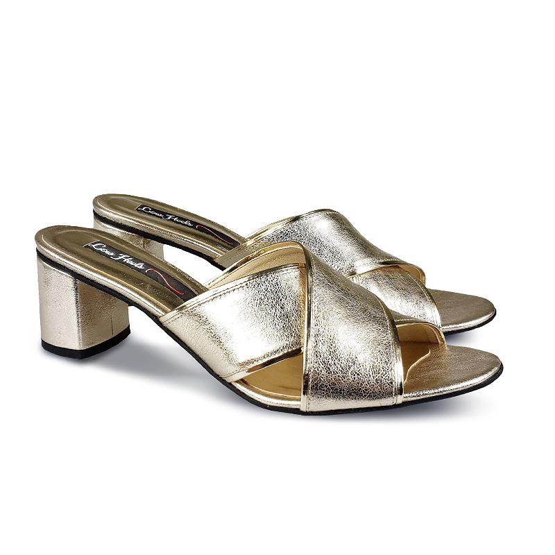 Francesca cross-over strap sandals in gold