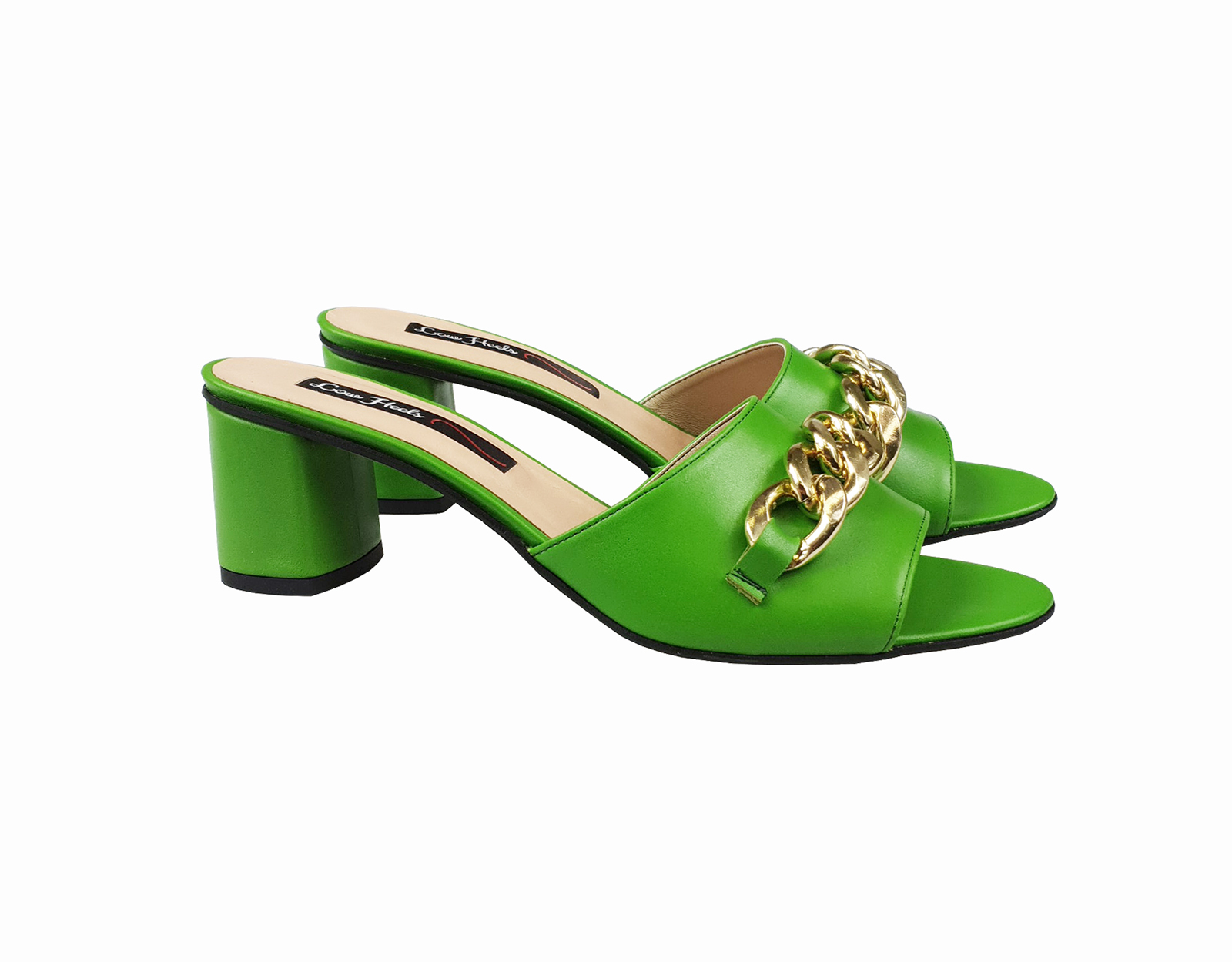 Gianna open toe mule with chunky chain - green