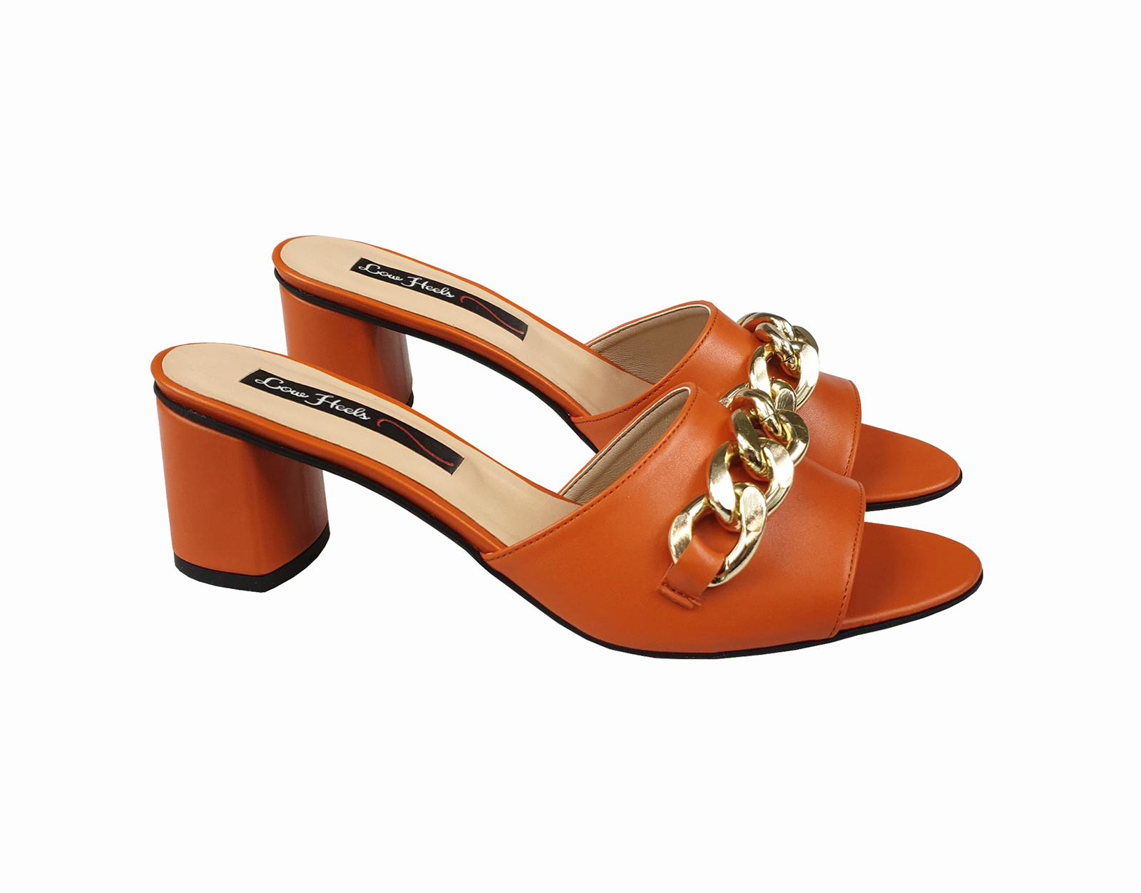 Gianna open toe mule with chunky chain - orange