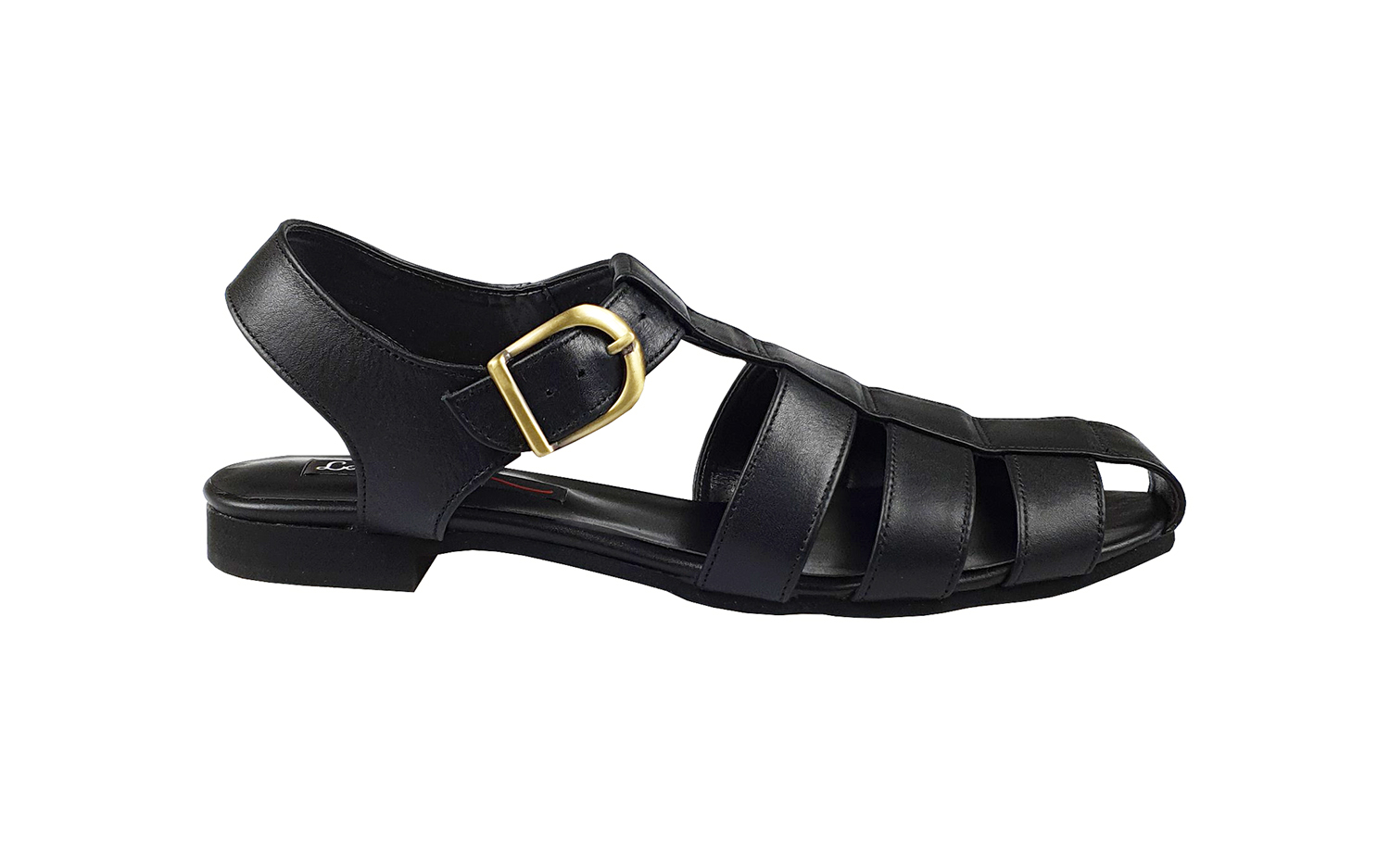 Isla cage sandals in black leather
