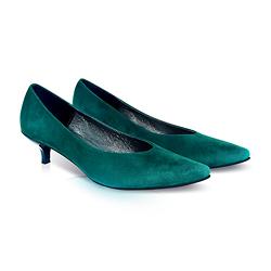 Kiki S pointed toe kitten heels - green