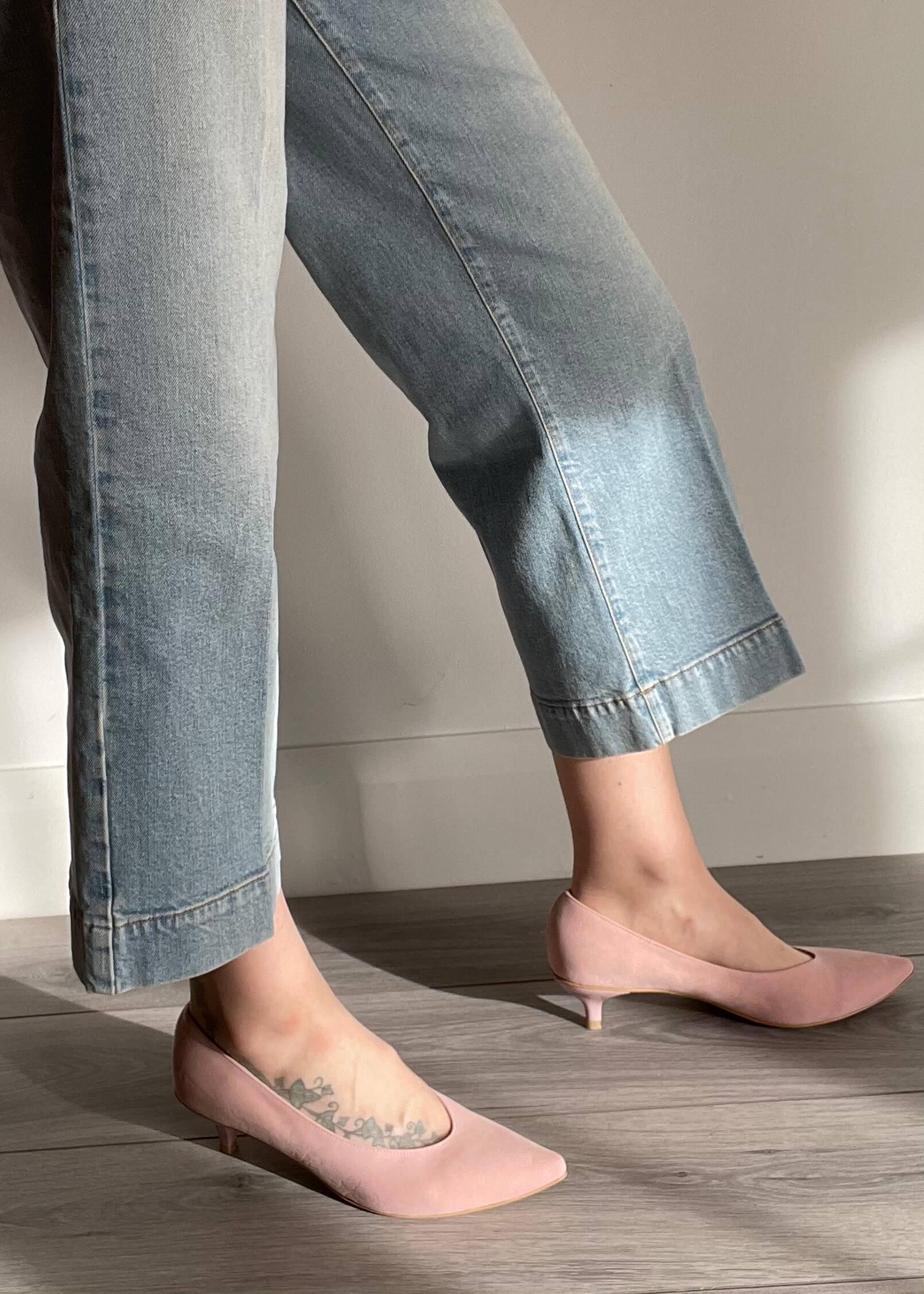 Kiki S pointed toe kitten heels - nude pink