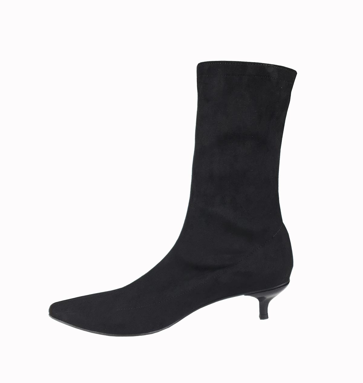 Kitty low heel sock boots in black