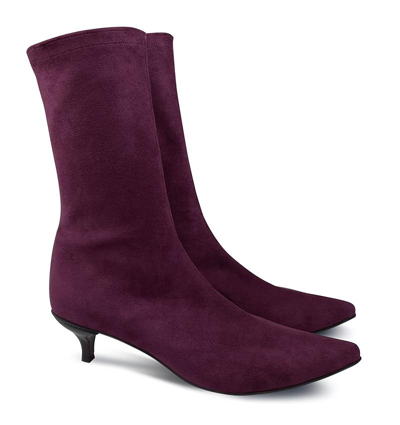 Kitty low heel sock boots in burgundy