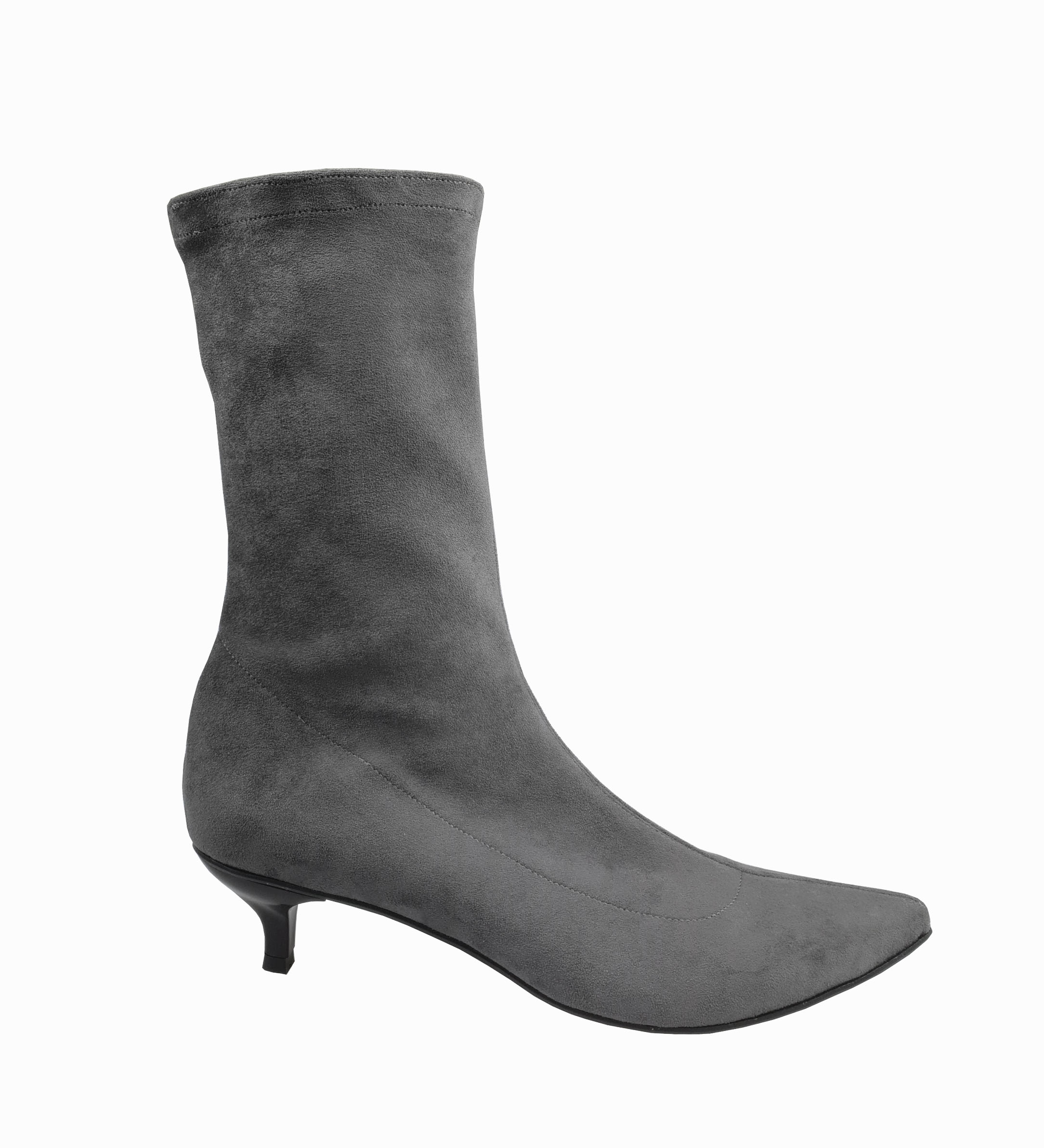 Kitty low heel sock boots in grey