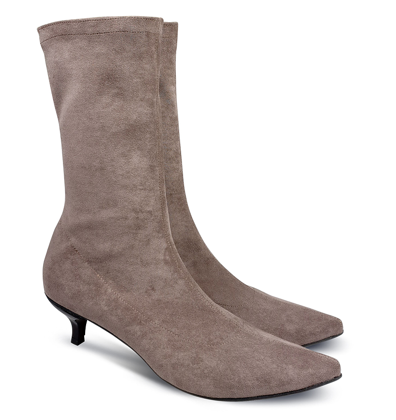 Kitty low heel sock boots in taupe