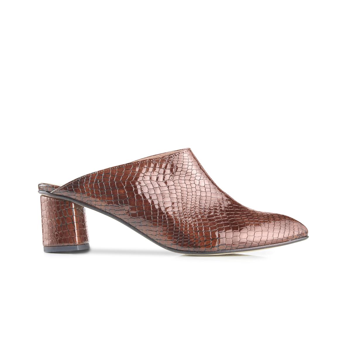 Lou croc leather block heel mules - brown