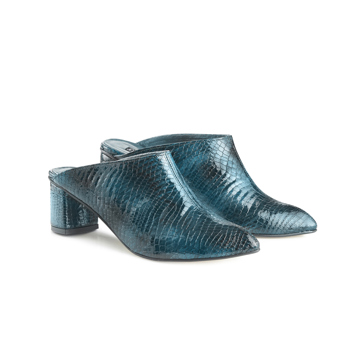 Lou croc leather block heel mules - teal