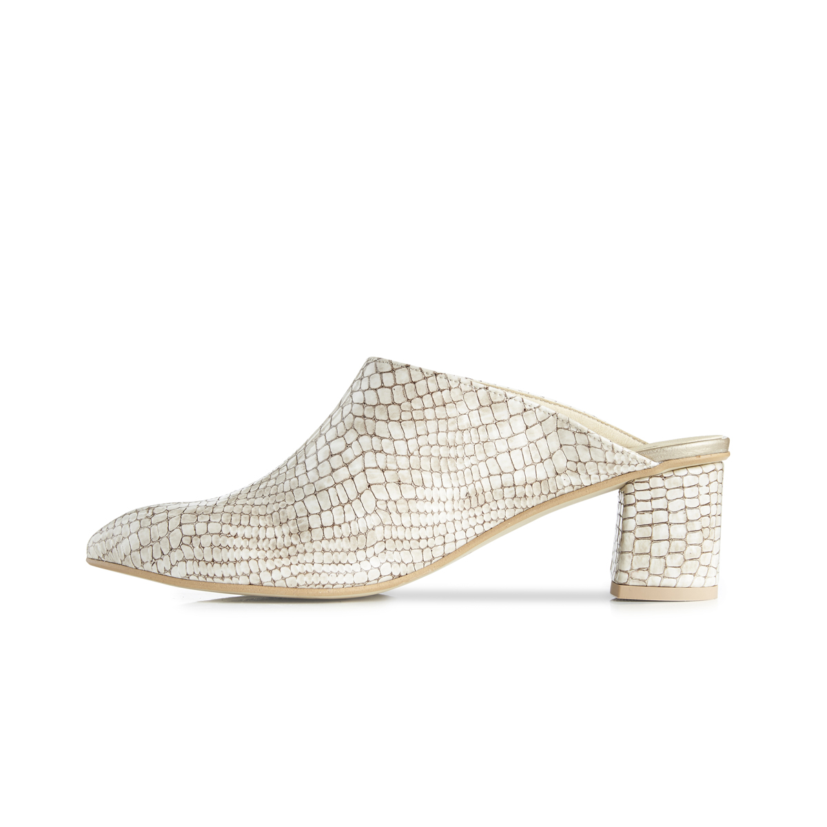 Lou croc leather block heel mules - beige