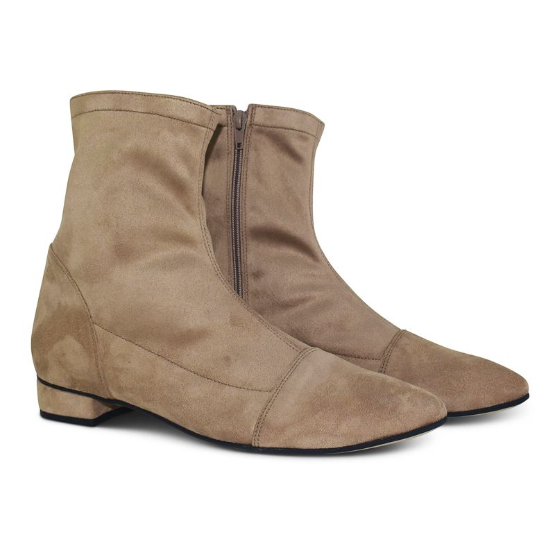 Luna sock boots with pointed toe - beige