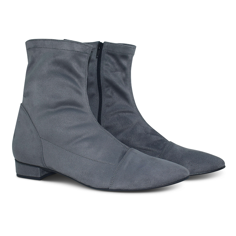 Luna sock boots with pointed toe - grey