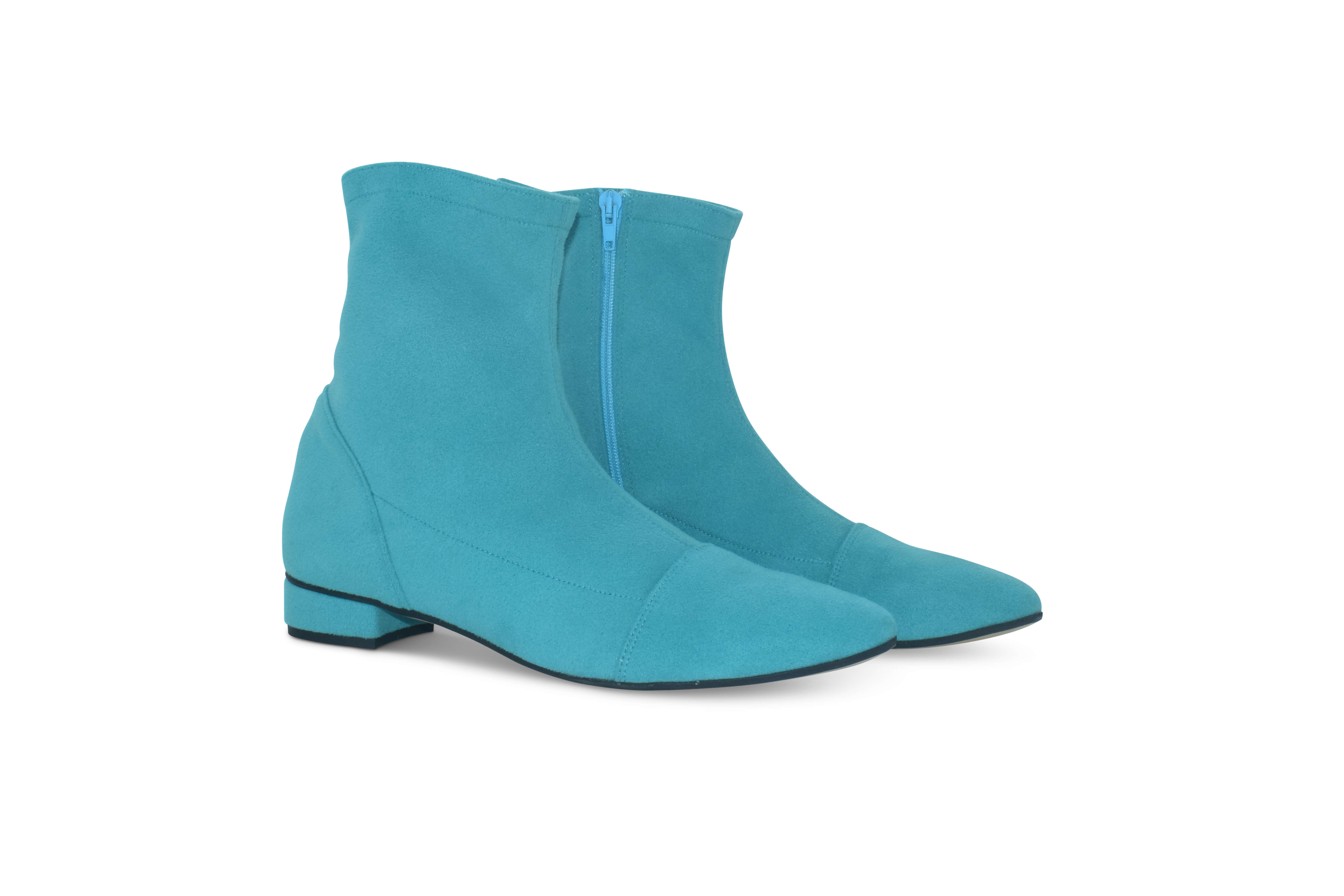 Luna sock boots with pointed toe - turquoise