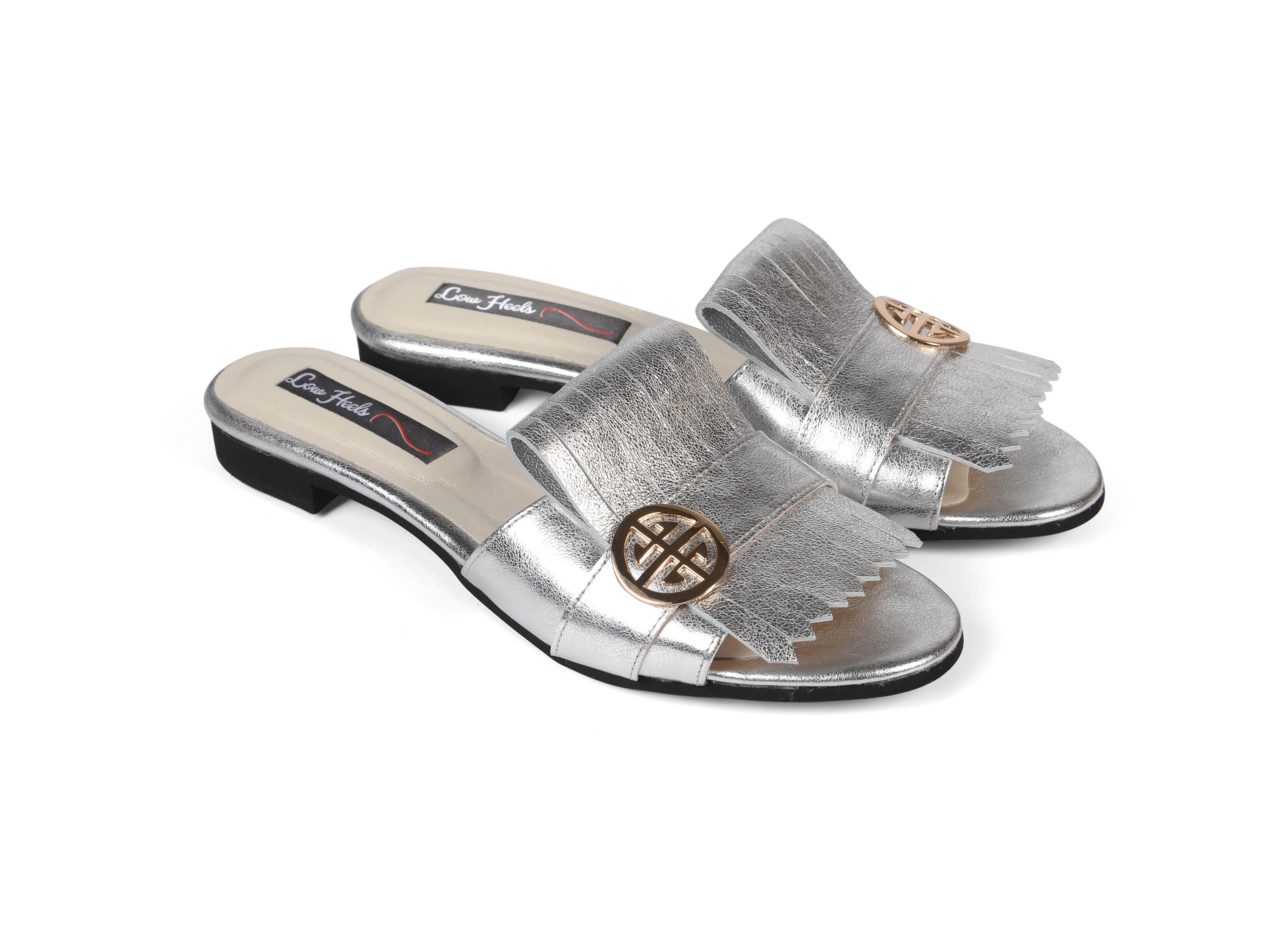 Seren F fringed sliders - silver