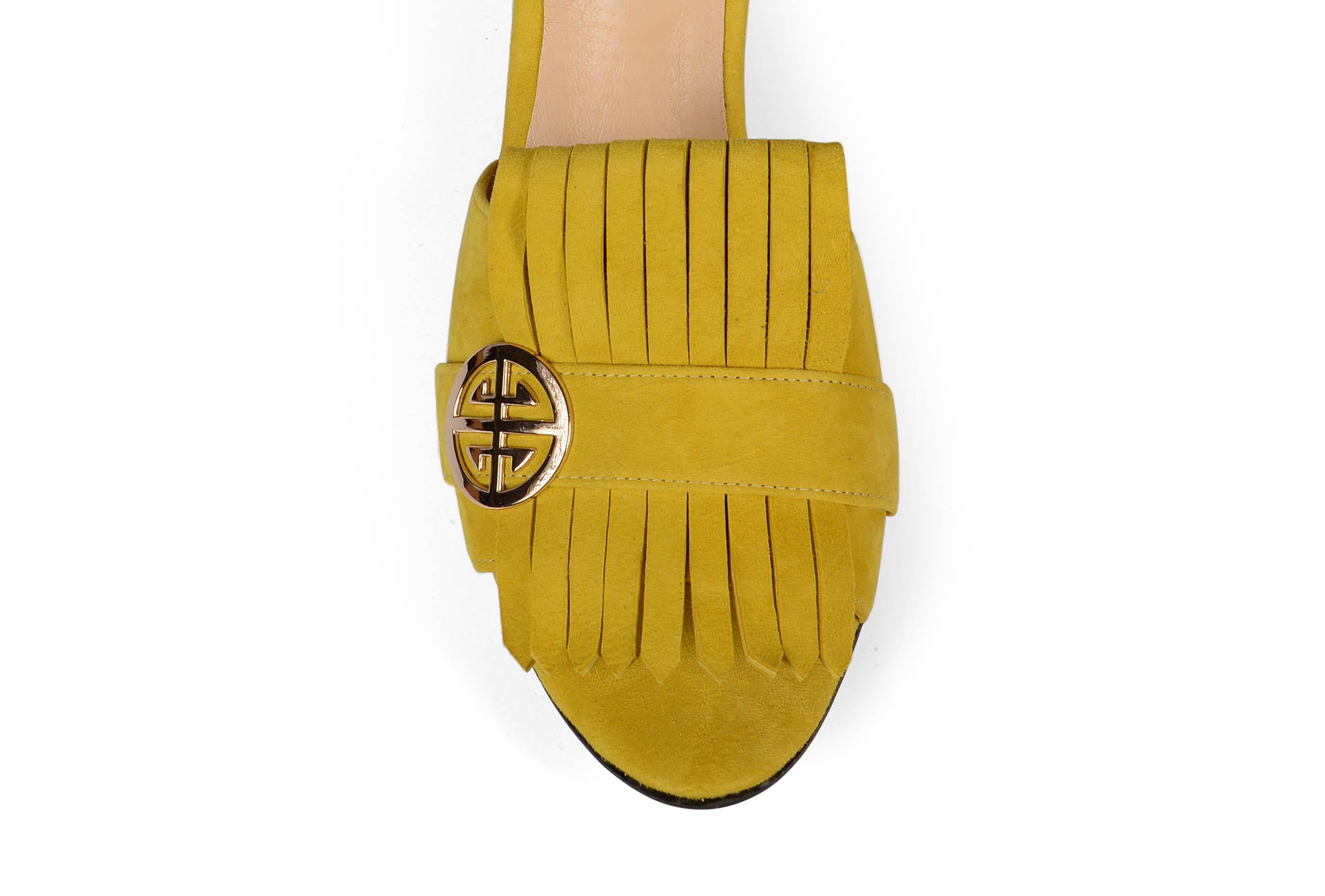 Seren block heel suede mules - yellow