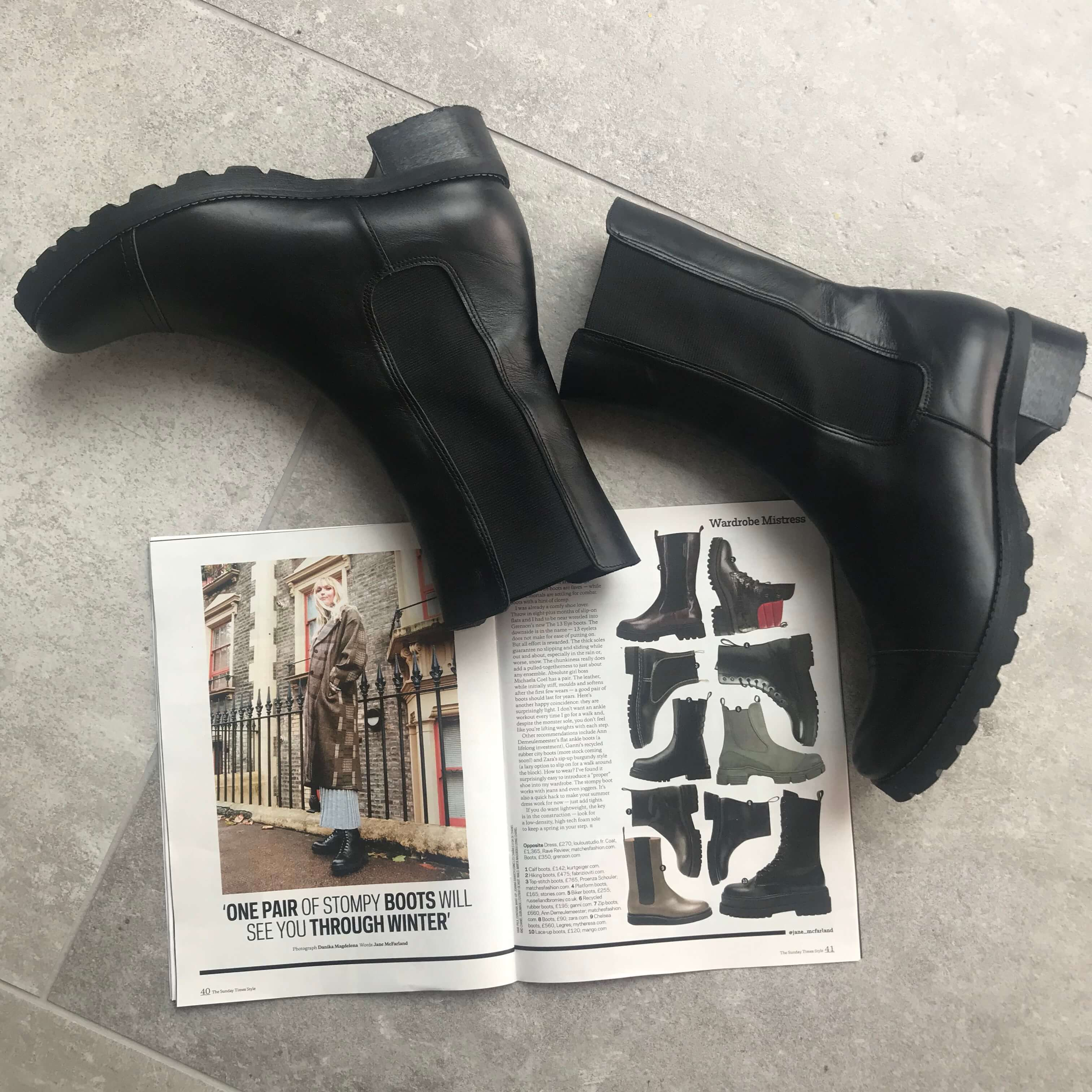 Stella chunky pull-on boot in black leather