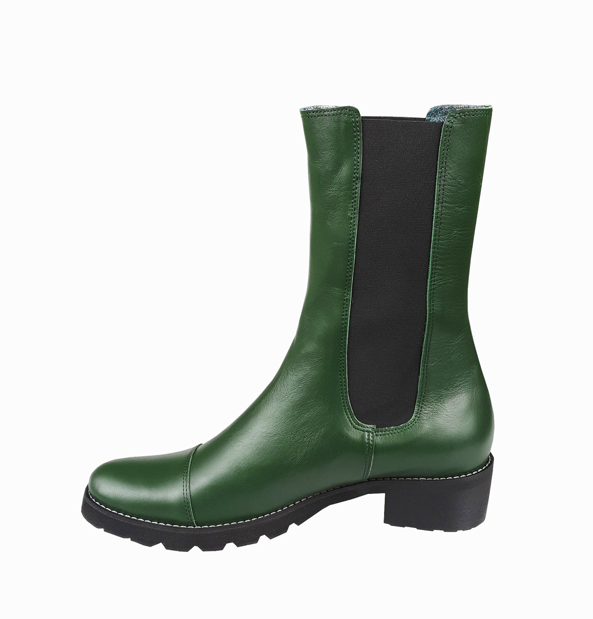 Stella chunky pull-on boot in green leather