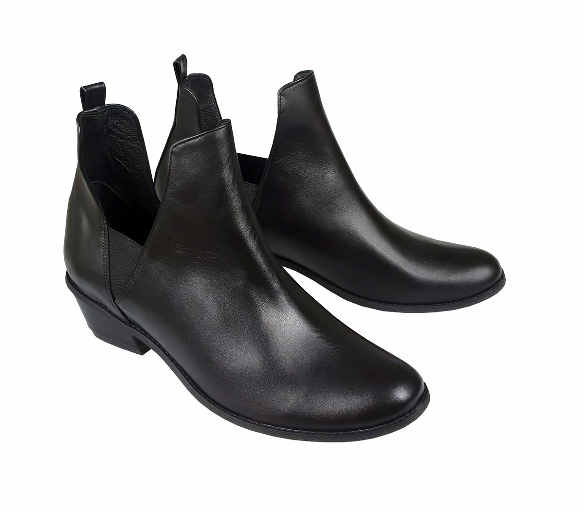 Winnie black leather ankle boots
