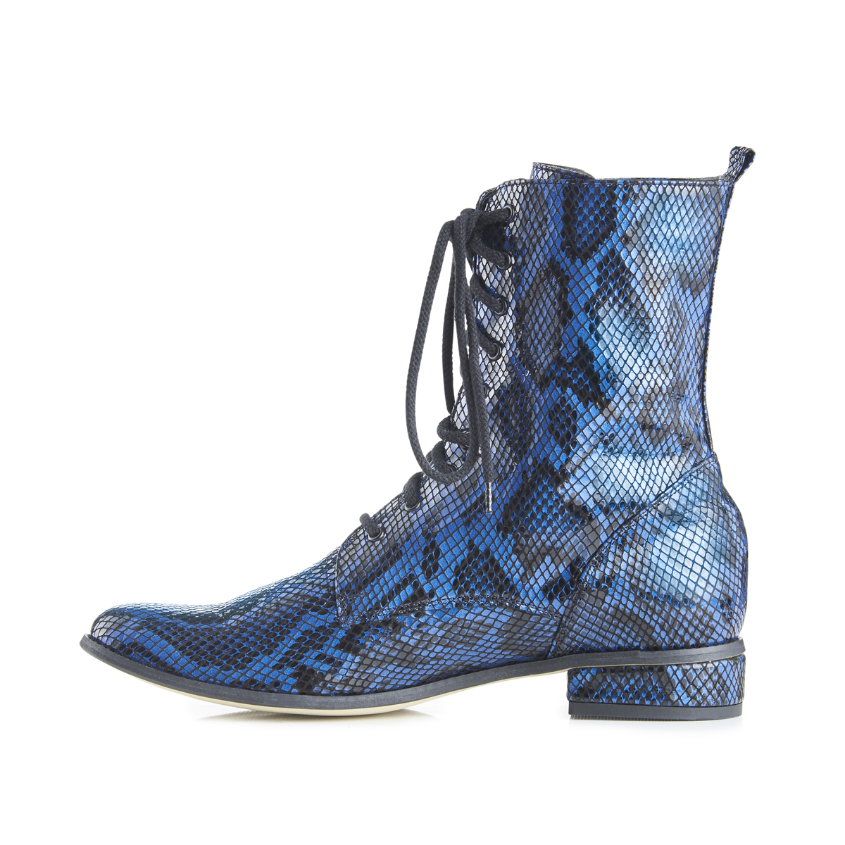 Yaga snake effect leather lace-up ankle boots - blue