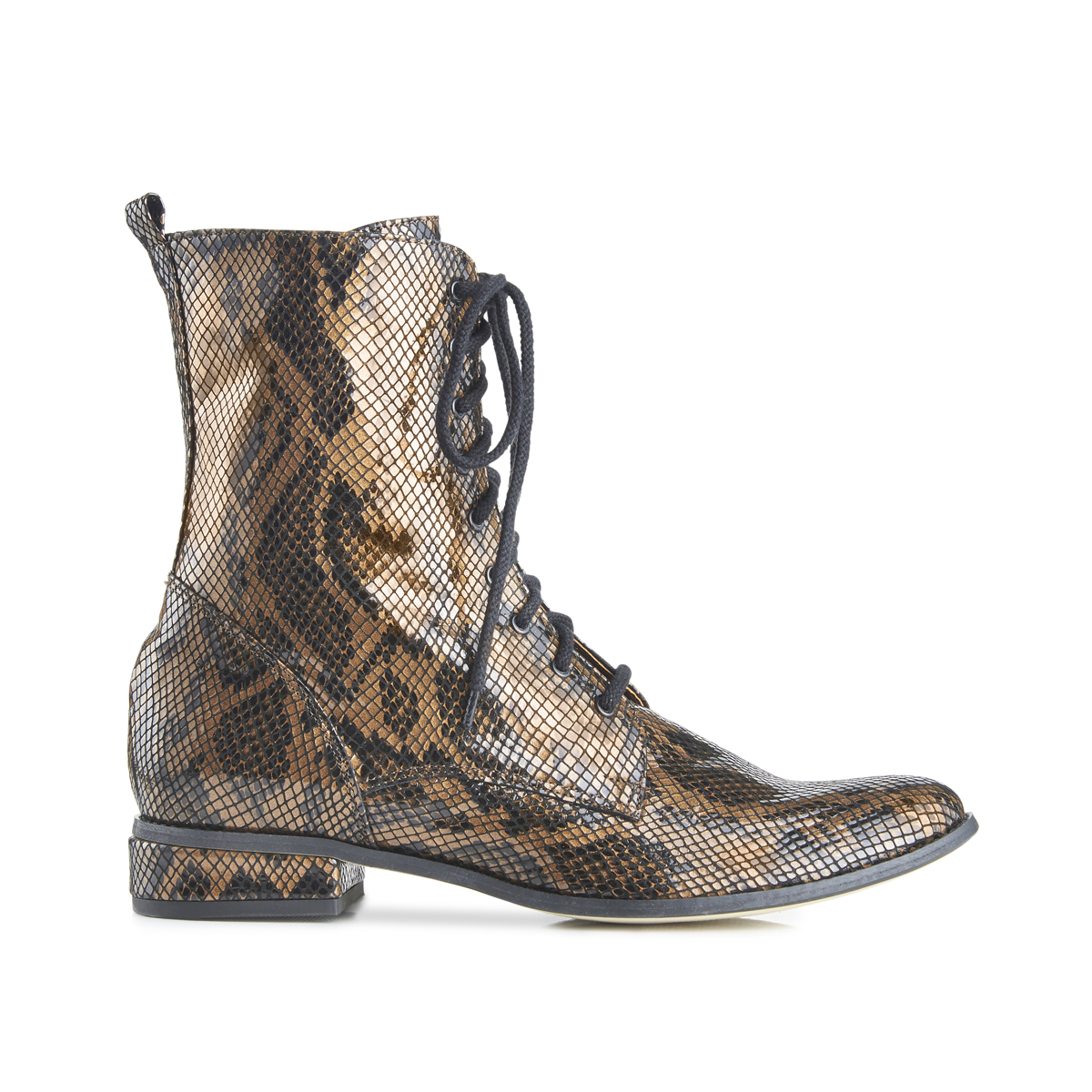 Yaga snake effect leather lace-up ankle boots - brown