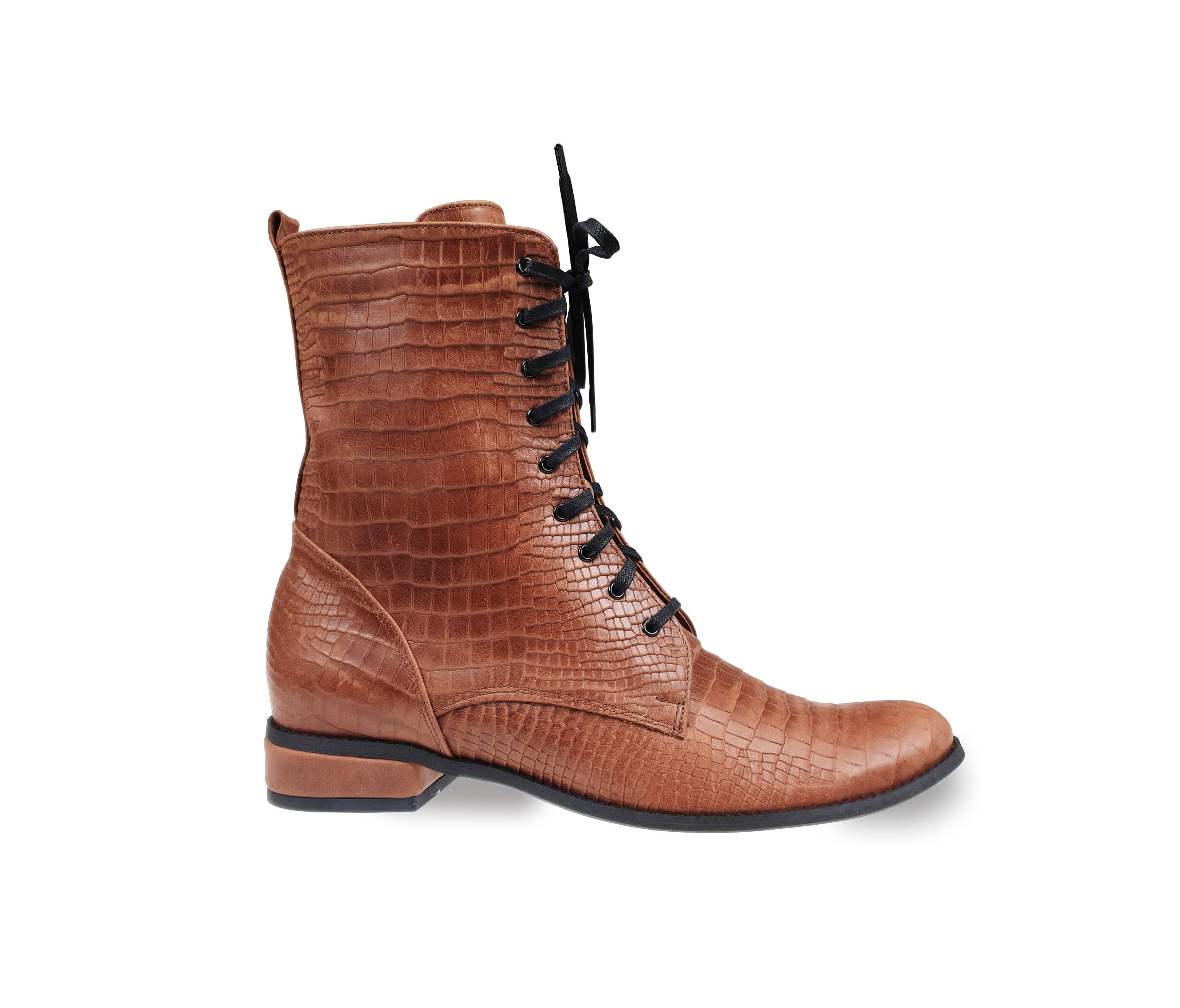 Yaga brown leather lace-up ankle boots