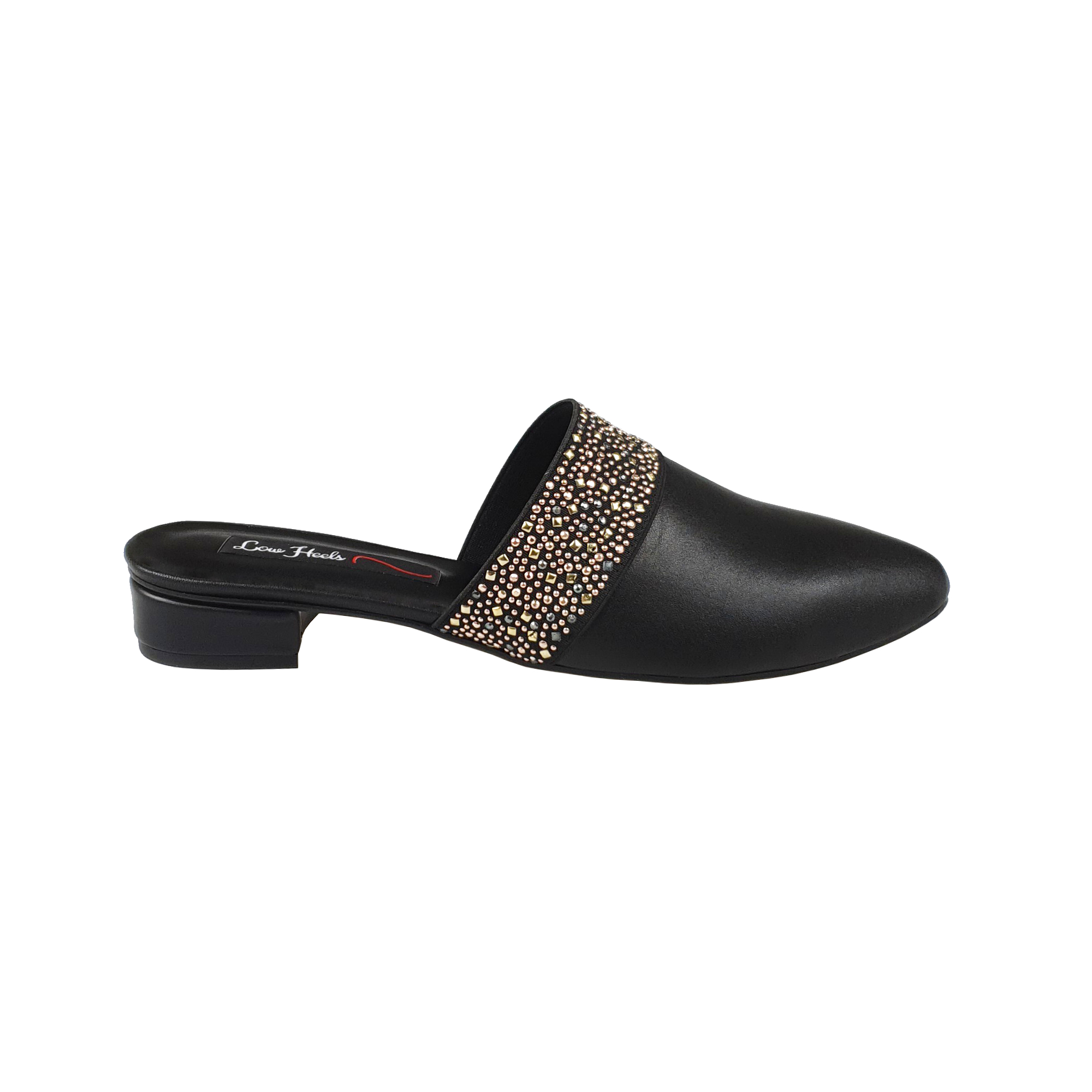 Zara mules with elastic insets in black leather
