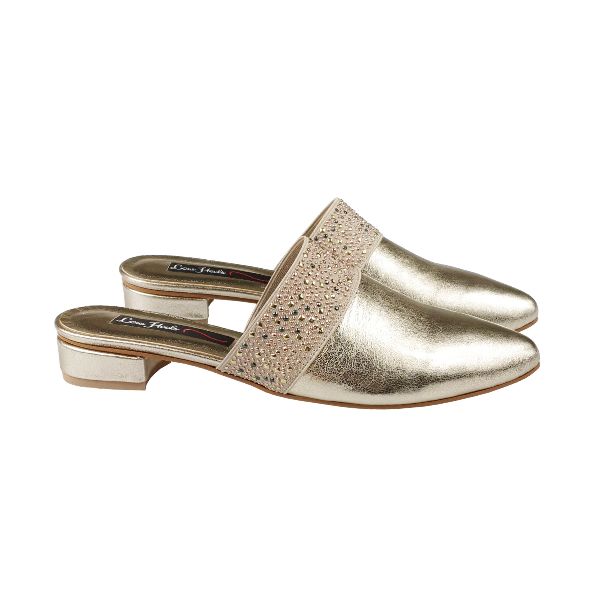 Zara mules with elastic insets in gold leather