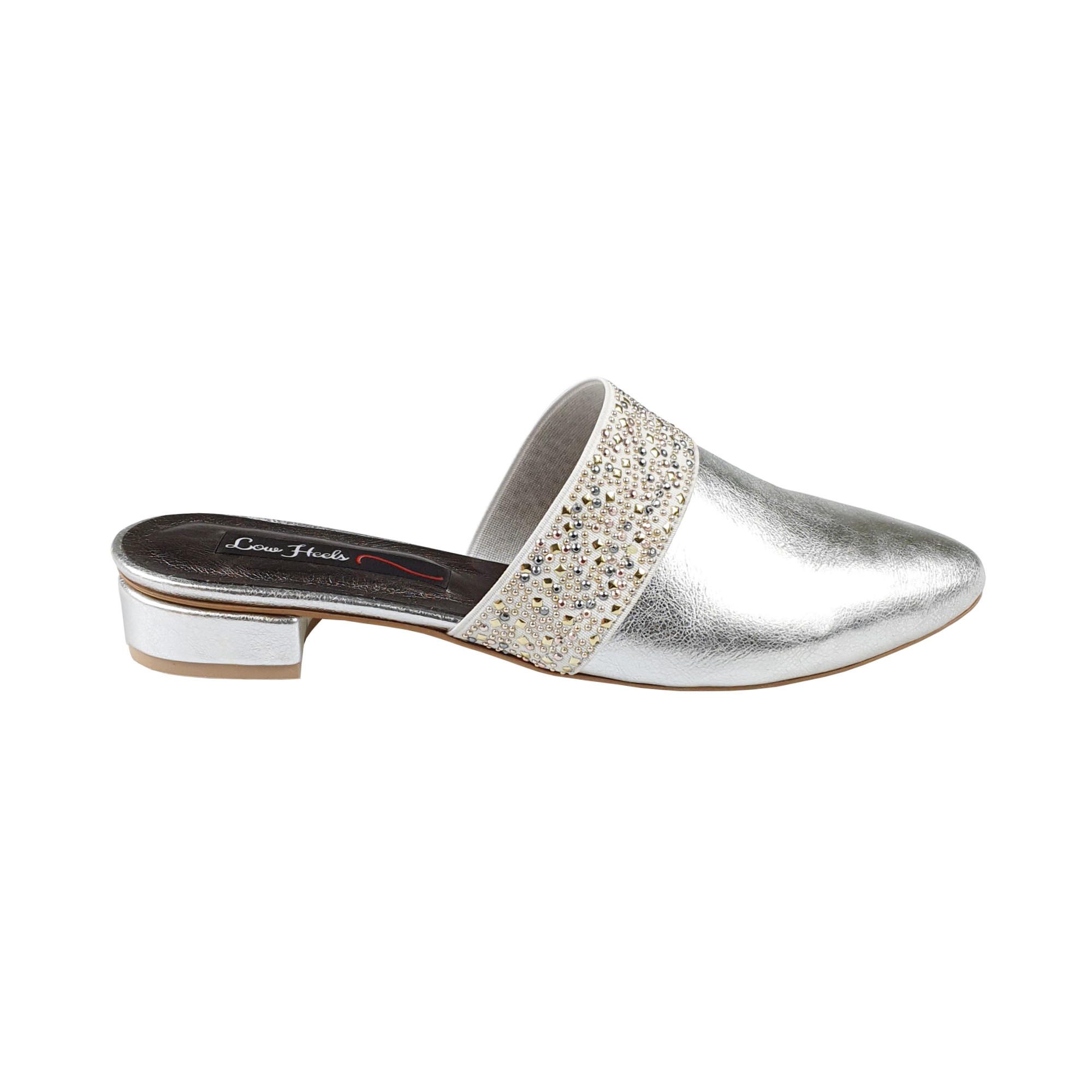 Zara mules with elastic insets in silver leather