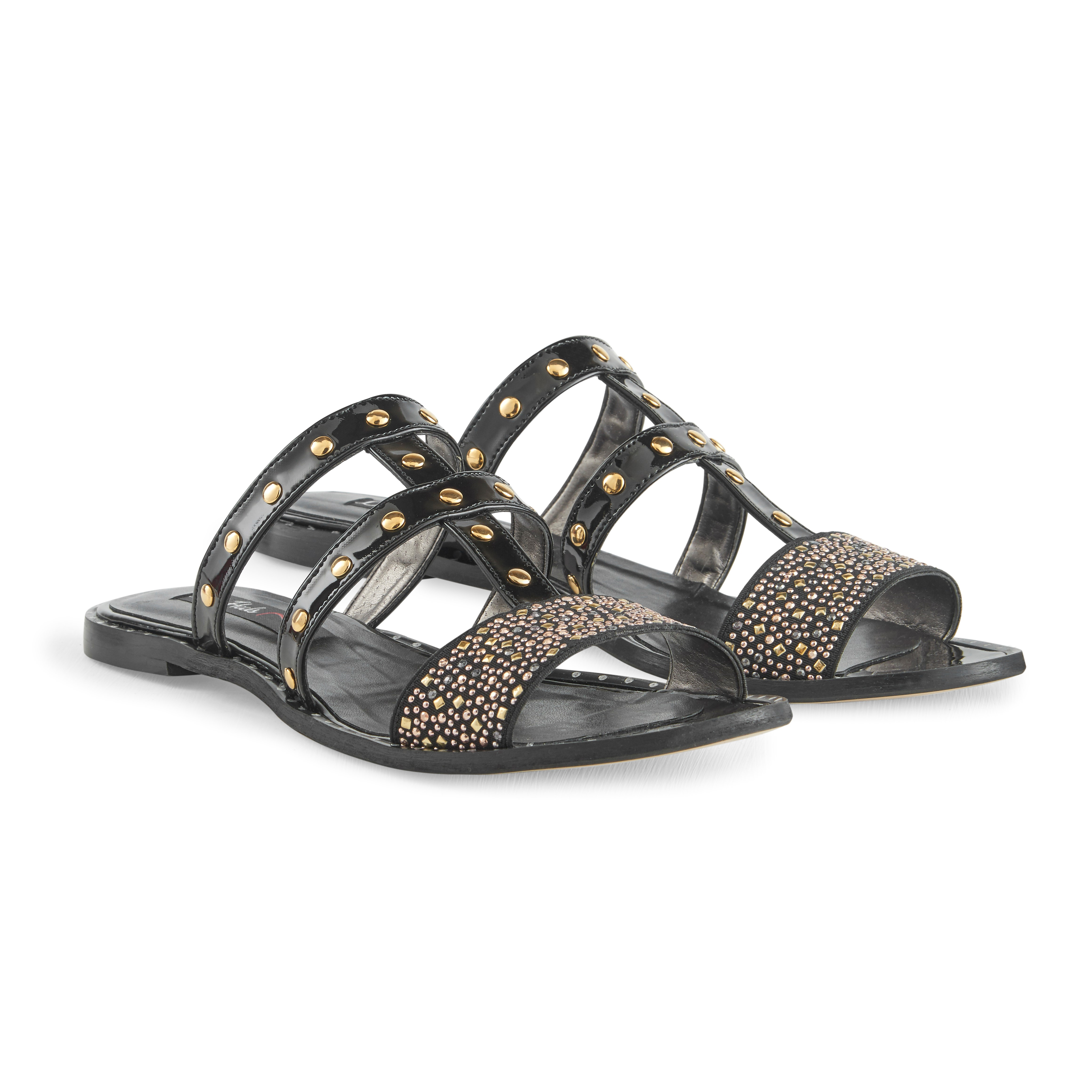 Jade black & gold leather sandals