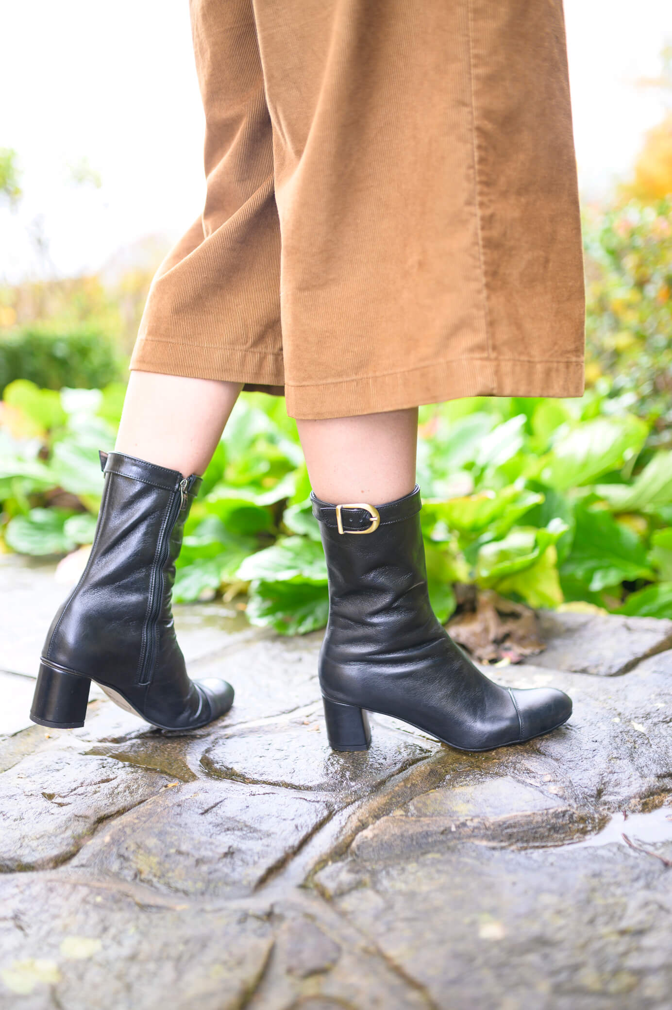 Amelie Leather Heeled Ankle Boots - Black