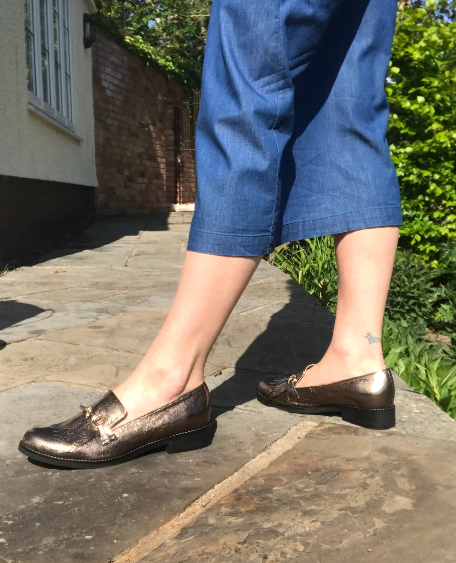 Mary leather fringed loafers - old gold