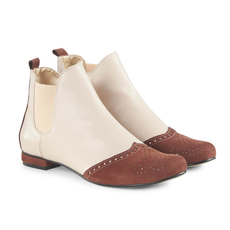 Paris brown & cream leather ankle boots