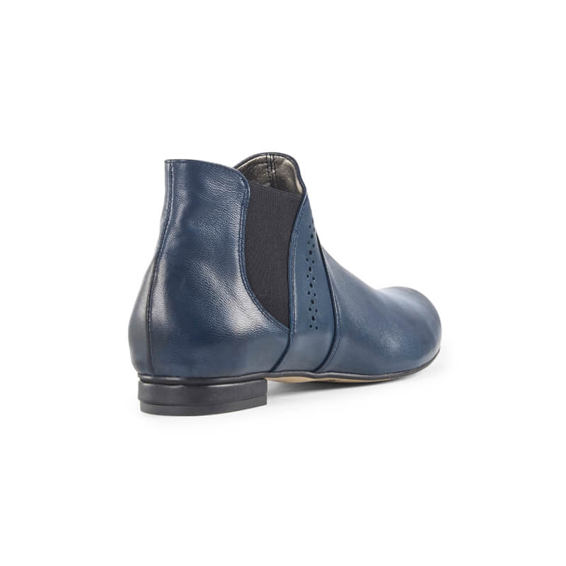 Gabi blue leather ankle boots