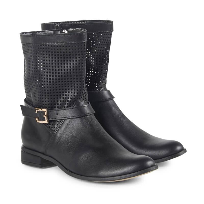 Issa black leather biker boots