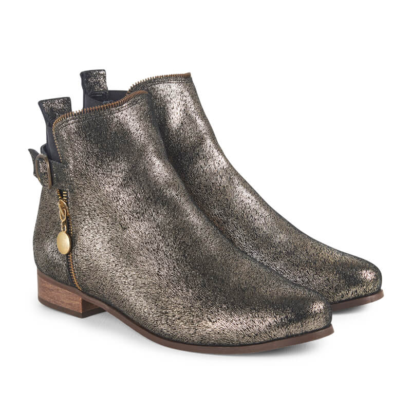 Alexa gold leather ankle boots