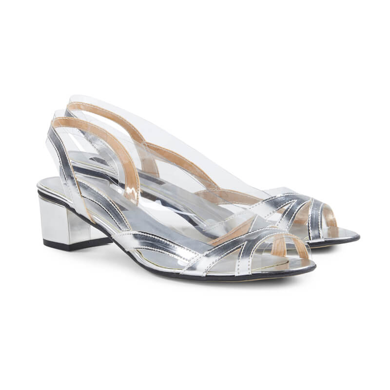 Kristin silver leather sling-back sandals