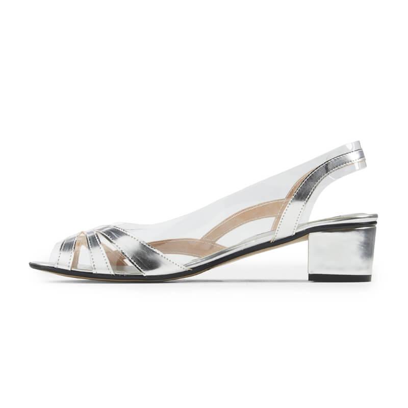 Kristin silver leather sling-back sandals